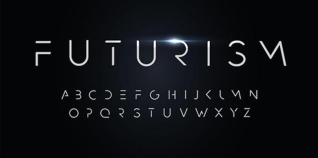Футуризм стиль алфавит тонкий сегмент линии шрифт минималистский тип для современного футуристического логотипа элегантный