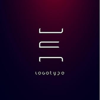 현대 미래 로고 우아한 사이버 기술 모노그램을 위한 미래주의 스타일 문자 e 미니멀리스트 유형