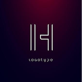 Буква h в стиле футуризм, минималистичный тип для современного футуристического логотипа, элегантная монограмма cyber tech