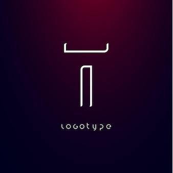 未来派スタイルの文字tミニマリストタイプのモダンな未来的なロゴエレガントなサイバーテックモノグラム