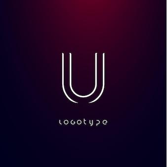 Futurism style letter u minimalist type for modern futuristic logo elegant cyber tech monogram