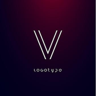 Futurism style letter v minimalist type for modern futuristic logo elegant cyber tech monogram