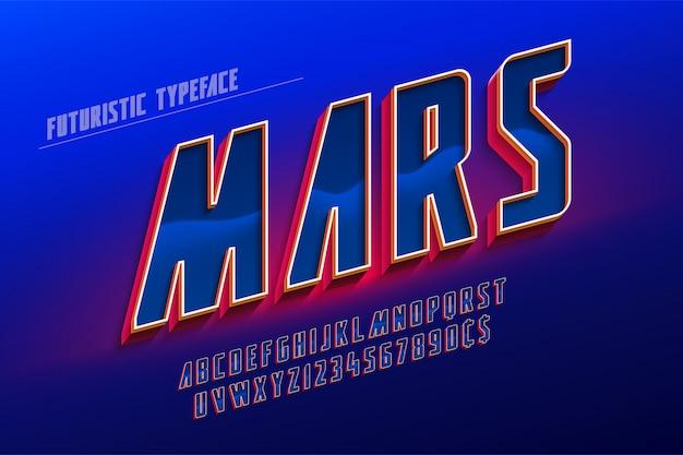 Футуристический 3d дизайн шрифта, красочный алфавит, гарнитура.
