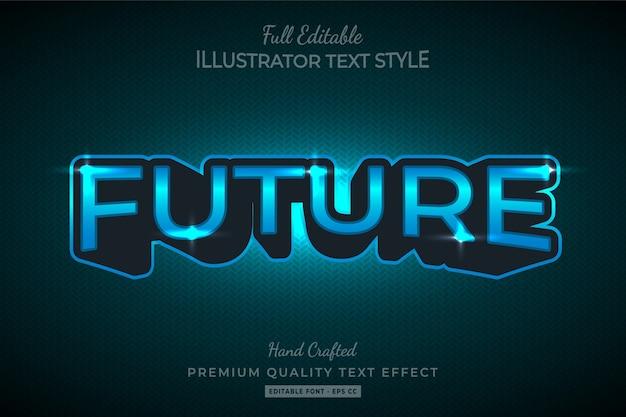Futuristic 3d text style effect premium vector