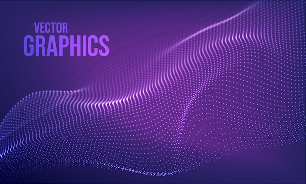 Futuristic 3d wave abstract background. wavy line dots. technology concept. big data  .