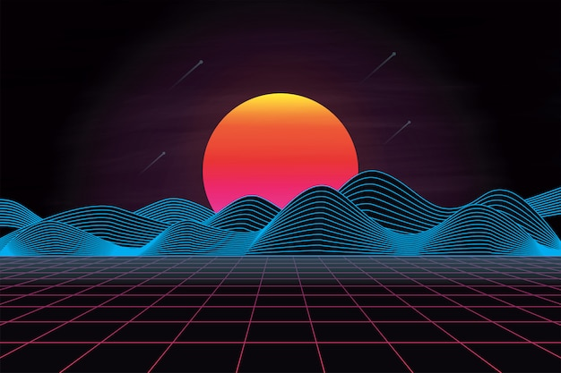 Futuristic 80's retro landscape with sun and mountain