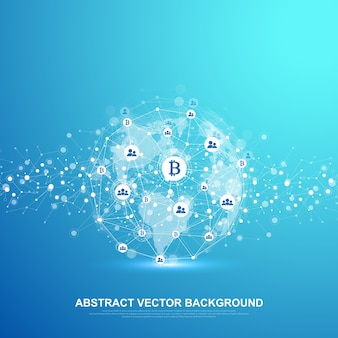 Futuristic abstract  background blockchain technology. deep web background. peer to peer network business concept. global cryptocurrency blockchain  banner. wave flow. Premium Vector
