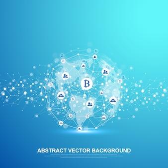 未来的な抽象的な背景ブロックチェーン技術。深いウェブの背景。ピアツーピアネットワークビジネスコンセプト。グローバル暗号通貨ブロックチェーンバナー。波の流れ。