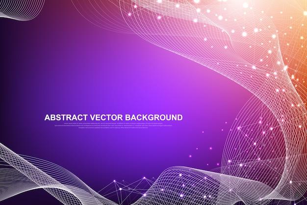 Футуристический абстрактный фон технологии блокчейн. подключение к глобальной сети интернет. одноранговая сеть бизнес-концепции. глобальный баннер блокчейна криптовалюты. волновой поток.