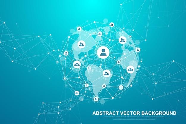 미래의 추상적인 배경 블록체인 기술입니다. 글로벌 인터넷 네트워크 연결. 피어 투 피어 네트워크 비즈니스 개념입니다. 글로벌 암호화폐 블록체인 벡터 배너입니다. 웨이브 플로우.