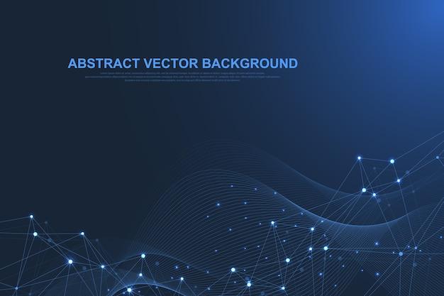Футуристический абстрактный фон технологии блокчейн. одноранговая сеть бизнес-концепции. глобальный баннер блокчейна криптовалюты. волновой поток.