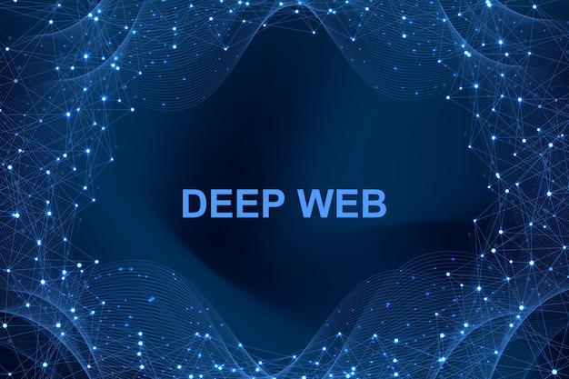 Футуристический абстрактный фон блокчейн технологии. одноранговая сеть бизнес-концепция. глобальная криптовалютная блокчейн. волновое течение.