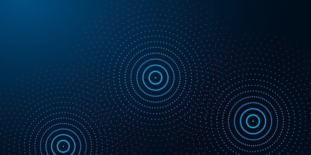 Futuristic abstract background with abstract water rings, ripples on dark blue background.