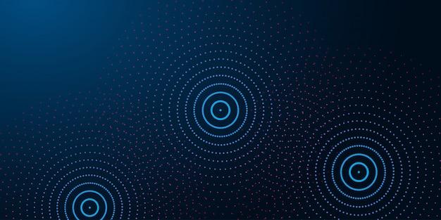 抽象的な水のリングと未来的な抽象的な背景、暗い青色の背景に波紋。