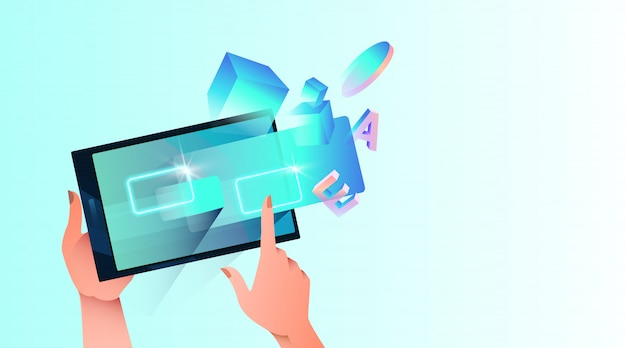 Futuristic abstract background with tablet, female hands, holograms and geometrical shapes