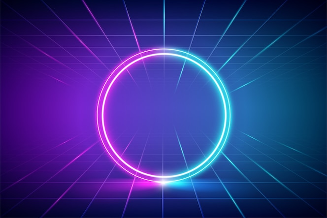 Futuristic abstract blue and pink neon light circles frame.