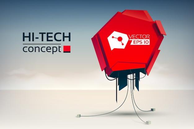 Футуристическая абстрактная концепция с механической красной машиной в стиле хай-тек