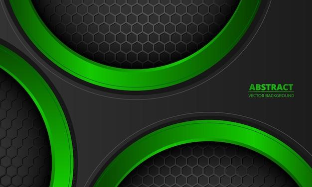 육각 탄소 섬유와 미래 추상 어두운 회색과 녹색 배경.