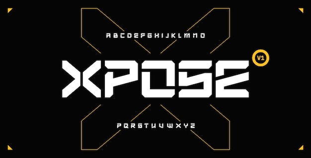 미래 추상 현대 테크노 글꼴, sci fi 굵은 디스플레이 문자 세트, 스텐실 깨끗한 스텐실 고정 폭 xposetypeface