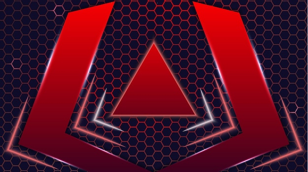 Futuristic abstract neon red and black colorful gaming modern hexagon esports background vector design