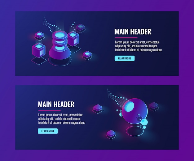 Futuristic abstract objects, banner template, server room, laboratorydata science concept