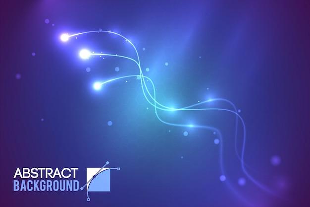 曲線と暗い図に光の効果を持つ未来的な抽象的な技術テンプレート