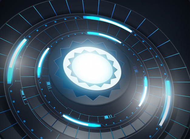Futuristic abstract template with innovative virtual user interfaces on dark background