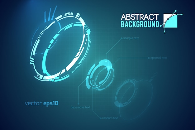 Futuristic abstract template with innovative virtual user interfaces on dark illustration