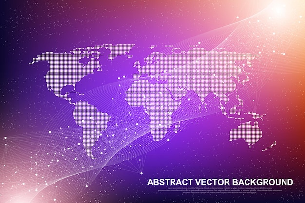 Futuristic abstract vector background blockchain technology. deep web background. peer to peer network business concept. global cryptocurrency blockchain vector banner. wave flow