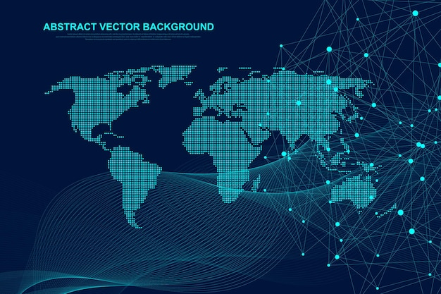 Futuristic abstract vector background blockchain technology. deep web. peer to peer network business concept. global cryptocurrency blockchain vector banner. waves flow.