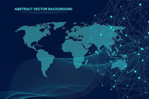 Футуристический абстрактный вектор фон технологии блокчейн. глубокая сеть. одноранговая сеть бизнес-концепции. глобальный баннер вектор блокчейн криптовалюты. волны текут.