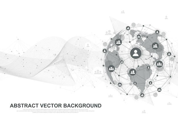 Futuristic abstract vector background blockchain technology. peer to peer network business concept. global cryptocurrency blockchain vector banner. wave flow