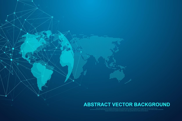 Futuristic abstract vector background blockchain technology. peer to peer network business concept. global cryptocurrency blockchain vector banner. wave flow. Premium Vector