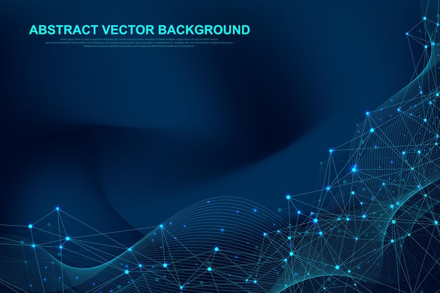 Futuristic abstract vector background blockchain technology.