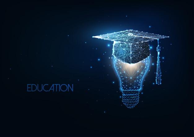 Футуристическое академическое образование, концепция выпуска с светящейся низкой полигональной крышкой и лампочкой