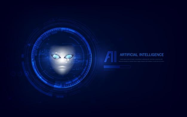 Futuristic ai head concept suitable for future technology