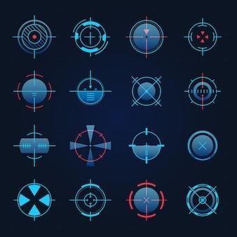 未来の目標。宇宙船または狙撃兵器は、ゲームのハッドのターゲットに焦点を当てています。デジタルホログラム十字線、レーダーまたはカメラファインダーベクトルセット、正確な客観的、軍事機器サークル