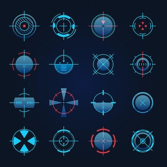 Futuristic aim. spaceship or sniper weapon focus on target for game hud. digital hologram crosshair, radar or camera viewfinder vector set, accurate objective, military equipment circle