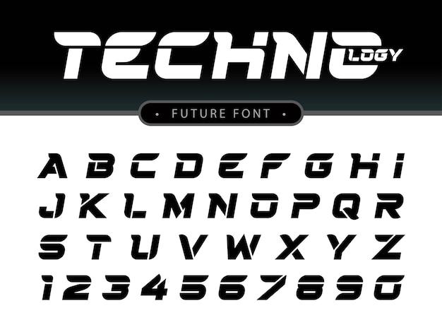 미래 알파벳 문자와 숫자, 미래 테크노 양식 글꼴