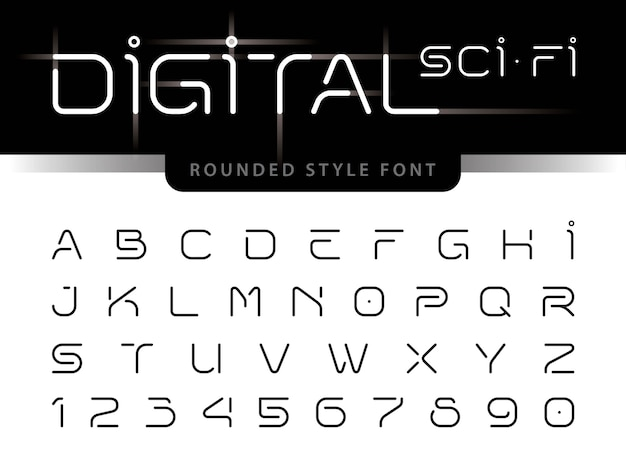 Futuristic alphabet letters and numbers, digital technology