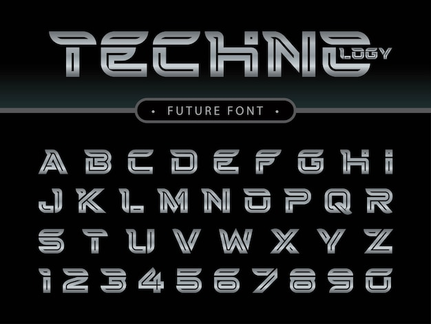 Futuristic alphabet letters and numbers, future techno stylized fonts