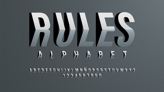 Futuristic alphabet with dimensional effect