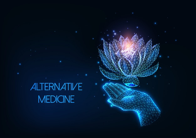 Futuristic alternative, holistic therapy concept with glowing low polygonal human hand and lotus flower
