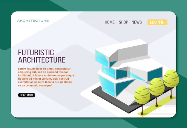 Futuristic architecture building from glass and concrete isometric landing web page on light