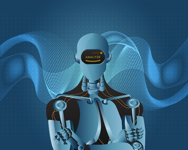 Futuristic artificial intelligence robot with wavy background style.