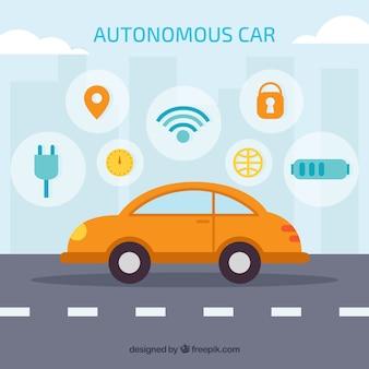 Futuristic autonomous car with flat design