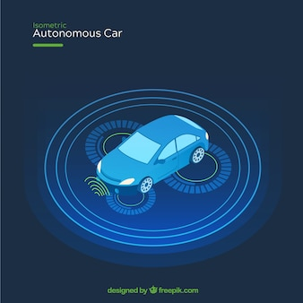Futuristic autonomous car with flat design