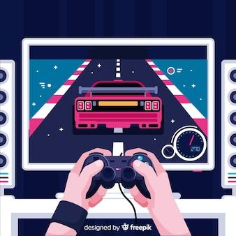 Sfondo futuristico di un giocatore di computer