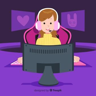Futuristic background of a computer gamer