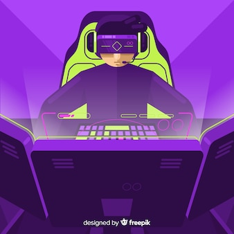Futuristic background of a computer gamer